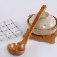 Uzun Kolu Büyük Tahta Kaşık Tatlı Pirinç Soupeaspoon Pişirme Mutfak Kaşık Ahşap Aksesuarları Araçları Ev Gadgets NHA5177