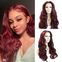 Синтетические парики длинные вьющиеся тела волна кружева передний парик бордовый 99J красный цвет фронтальная бесчувственная средняя часть волос для чернокожих женщин