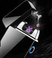 지문 터치 민감한 전원 디스플레이 라이터 충전 방풍 크리 에이 티브 라이터 USB 전자 담배 라이터 ZC204