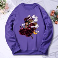 Einstücke Anime Prints CrewNeck Männer Hoodie Herbst Fleece Taschenkleidung Vintage Hip Hop Pullovers Warme Übergroße Streetwears