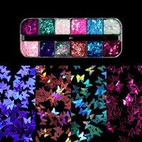 Décorations d'art ongles 12 grille paillettes paillettes autocollant papillon coupe laser scintillant bricolage manucure décoration 3D FIMO flocons