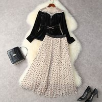 2021 Autumn Winter Long Sleeve Round Neck Black Contrast Color Velour Panelled Belted Top + Hearts Tulle Pleated Mid-Calf Skirt Two Piece Suits 2 Pieces Set 21O0912703