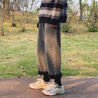 Men's Jeans Men Fleece Winter Baggy 2021 Denim Pants Man Korean Fashion Black Harem Male Casual Wide Leg Stacked