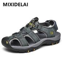 Mixidelai Echtes Leder Männer Schuhe Sommer Neue Große Größe Männer Sandalen Männer Sandalen Mode Sandalen Hausschuhe Große Größe 38-47