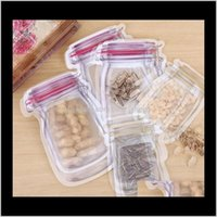 Vulk Mason Jar Conteneur de nourriture en forme de conteneur réutilisable Eco Friendly Snacks Sac plastique Sacs de rangement en plastique Pince à l'odorat EWC3656 XBLCP B24JY