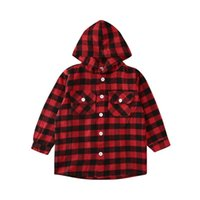 Shirts Toddler Kid Baby Boy Girl Shirt Red Plaid Fall Long Sleeve Pocket Hooded Top Blouses Outerwear Coat Cute Clothes For 2-7Y