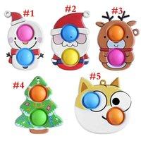 Novel Cartoon Fidget Sensory Bubbles Push Bubble Key Ring Snowmen Santa Clause Christmas Tree Dog Keychain OWB7860