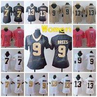 Womens New Orians Senhoras Sales 7 Taysom Hill 9 Drew Brees 13 Michael Thomas Football Jersey Black White Costurado