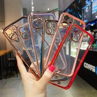 Luxury Square Clear Plated Cases for iPhone 12 SE 11 Pro Max 7 8 Plus XR XS X Silicone Electroplated Cover