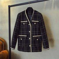 ZAWFL Lüks Tasarımcı Marka Yün Karışımları Ceket Kadınlar Için Moda Siyah Vintage V Yaka Ekose Geniş Bel Tweed Coat S-XXL 210927