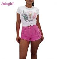 Adogirl Trendy Solid Fluoreszenz Farbe Loch Jeans Shorts Quaste Trim Frauen Casual Summer Shorts Plus Size S-2XL Kurzer Hosen1