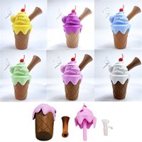 Ice Cream Design Silicon Pipes Handheld 4.3inch Size Smoking Pipe With Quatz Oil Burner Dab For Dry Herb Tobacco Vape DHL