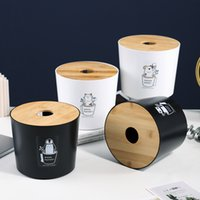 Bamboo и Wood Paper Punel Box Creative Гостиная Доступные Салфетки Ящик для салфетки Хранение Круглая Кнопка Кнопка Семейная Ткань