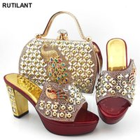 Dress Shoes Fashion Italian Women Wedding Pumps With Purse Nigerian Style And Bag Set Matching For Party