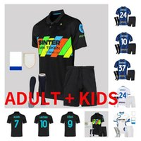 Adulto Kids Kit 21 2 21 22 Inter Dzeko Jersey Brozovic Milão Vidal Barella Lautaro Eriksen Alexis Hakimi 2021 2022 Skriniar Camisa de Futebol 16-XXL