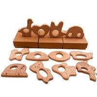 شكل مختلف الطفل خشبي عضاض القلب الزرافة سحابة فنجر الدب الأسماك تصميم الطبيعة التمريض الطفل الخشب التسنين لعبة الخشب الحرفية owf6386