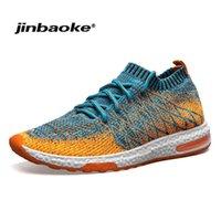 Jinbaoke الربيع الصيف تنفس الرجال الاحذية تنفس خفيفة الوزن شبكة الأحذية الرياضية توسيد الوحيد الذكور رياضة أحذية رياضية