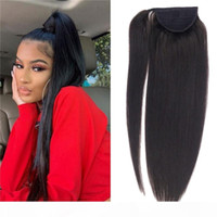 10A Grade Virgin Brazilian Human Hair Ponytail Thick Ends Clip in Hair Extensions Slik Straight Ponytail Hair 120g
