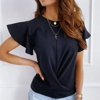 Women's Blouses & Shirts 2021 Summer Blouse Shirt For Women Butterfly Short Sleeve O Neck Casual Office Lady Black White Female Tops Korean