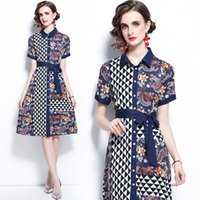 Boutique Shirt Dress Short Sleeve Womens Printed Dress Fashion Trend Summer Dress High-end Casual Lady Dresses