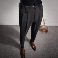 Men's Suits & Blazers 2021 Business Dress Pants Fashion Folds Casual Slim Fit Wedding Office Social Suit Streetwear Trousers Costume Homme