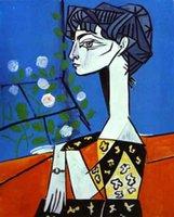 100% handgefertigte Ölgemälde-Reproduktion auf Leinen-Leinwand, Jacqueline mit Blumen von Pablo Picasso, Museumsqualität