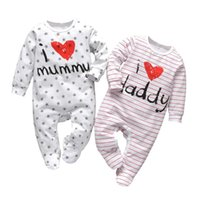 Jumpsuits Born Baby Boys Girls Rompers Pajama Cotton Cute Letter I Love Daddy And Mummy Long Sleeve Jumpsuit Infant Toddler Clothes