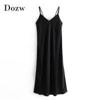 Черный цвет сексуальный спагетти ремешок шелковый платье женщины мода v шеи миди леди разделить пятно вечеринки женские вестовые донна 210422
