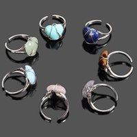 Reiki Filo di pietra avvolto anelli di cristallo Ametista naturale Ametista Lapis Opal Pink Quartz Heart Heart Party Wedding Jewelry Lover