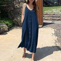 Повседневные платья 2021 летний сплошной ремень халат Femme женские джинсовые голубые рубашки платье Zanzea праздник без рукавов Vestido мода V шеи