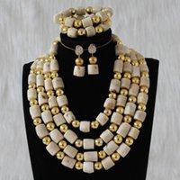 Oorbellen Ketting Dudo Store 13-14mm Wit Originele Coral Beads Jewerly Set 4 Lagen Grote Afrikaanse sieraden met Gold Divider Quality Party