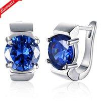 Pendientes de circón de oro K, aretes románticos de diamante redondos azules, clip de oreja, platino para mujer KZCE155-C-1 KZCE155