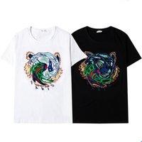 Cabeça de tigre novo verão europa homens bordado t shirt top qualidade camisetas moda de alta qualidade designer t camisa mulheres rua casual tees
