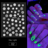 1pcs 3D Butterfly Flame Snowflowers Designs Luminous Nail Art Stickers Glow in the Dark Glitter Nail Decals Manicure Decorations