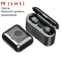 3 in 1 F9 TWS Mini Bluetooth 5.0 Earphone Smart Touching In-ear Headphone Wireless Headset 9D Surround Speaker with led display powerbank