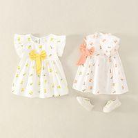 Vestidos de niña 2021 Flower Summer Girls Vestido Luz para bebés Vestidos de princesa con Ropa de Niños Arco Niños