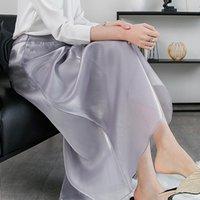 Юбки Chohill-ifashion Store летних дам Шелковый атласный юбка ЛУСТРЫЙ Плиссированный сплошной цвет женские длинные