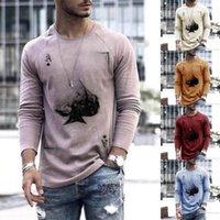 Long Sleeve T Shirts Men Print Round Neck Summer Mens Clothing Casual Ace Of Spades Slim Fit Tops Kawaii