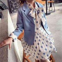 Crianças roupas de escola blazer jaqueta + vestido 2 pcs tuxedos terno para meninas casamento formal conjuntos de casas crianças 4 6 8 10 14 ano 210729