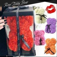 Yaratıcı Simülasyon Gül Teddy Bear Sevgililer Günü Hediyesi 25 cm Çiçek Ayı Yapay Dekorasyon Noel Hediyesi
