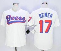 Herren Doug Remer 17 Joe Coop Cooper 44 Baseketball Jersey Biere Movie Button Down Weiß Alle genähten Stich genäht Hohe Qualität Trikots