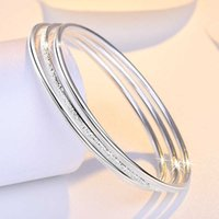 925 Silver Plated Bangles With 3pcs set Band Rings Bracelets Jewelry For Men Or Women