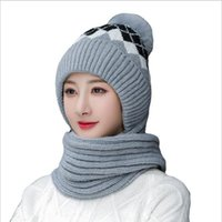 Beanie Skull Caps Winter Hat For Women Fur Ear Protector Knitted Thick Warm Ladies Wool Soft Beanies Hooded Scarf