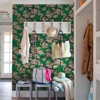 Wall Stickers ,3D Paper Brick Stone Rustic Effect Self-adhesive Sticker Home Decor Decoration Accessories