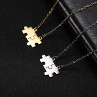Fishhook Jigsaw Puzzle Hollow Hexagon Circle Necklace Small Gold Color Stainless Steel Women Girl Man Lover Pendant Gift Jewelry Necklaces