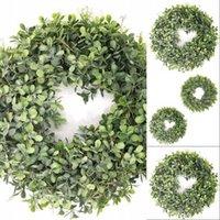 Yapay Yeşil Yaprakları Çelenk - 17.5 Inç Ön Kapı Çelenk Kabuk Çim Şimşir Duvar Pencere Parti Dekor için 533 V2