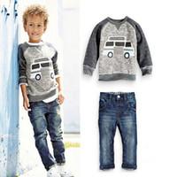 2021 어린이 자동차 긴 소매 티셔츠 + 청바지 소년들의 정장 특별 가격