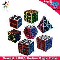 Yuxin Fibra de carbono Megaminx Skew Pyramid Magic Cube 2x2 3x3 4x4 5x5 Megaminxeds Speed Puzzle Cube 7pcs Juguetes educativos