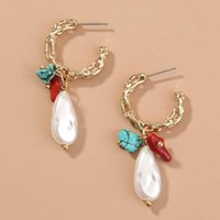Dangle & Chandelier Creative Personality C Shaped Metal Earrings Retro Natural Stone Mixed With Special-shaped Pearl Jewelry Earring