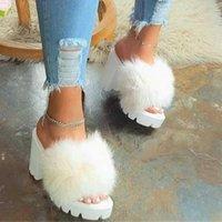 2021 New Fashion Women Sandals Chunky Heel Platform Flip Flop Slip-On Plain Summer Transparent Heels Slippers Sandalias Mujer